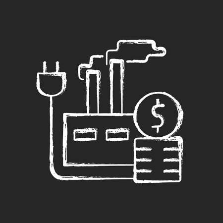 Energy price for industry chalk white icon on dark background. Industrial power consumption financial cost. Electrical resource. Energy purchase. Isolated vector chalkboard illustration on black Ilustrace