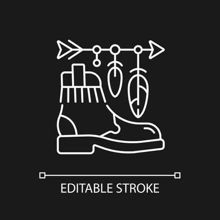 Boho lifestyle white linear icon for dark theme. Practicing unconventional style. Hippie fashion. Thin line customizable illustration. Isolated vector contour symbol for night mode. Editable stroke Ilustrace