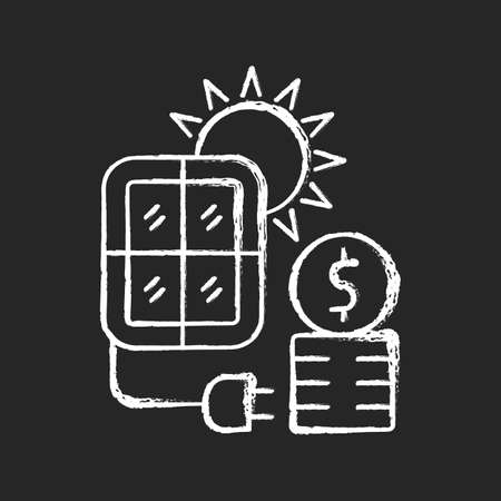 Solar energy price chalk white icon on dark background. PV panels for sun power generation. Cost for sustainable resource consumption. Energy purchase. Isolated vector chalkboard illustration on black
