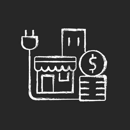 Energy price for commercial customer chalk white icon on dark background. Cost for electrical power for shops and stores. Retail industry expense. solated vector chalkboard illustration on black Ilustrace
