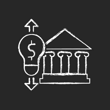 Government energy price regulation chalk white icon on dark background. Community utility supply and service cost. Electricity usage efficiency. Isolated vector chalkboard illustration on black