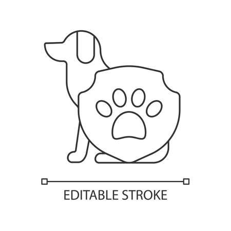 Animal protection linear icon. Pet welfare label. Cruelty free mark for vegan brand. Thin line customizable illustration. Contour symbol. Vector isolated outline drawing. Editable stroke Ilustrace