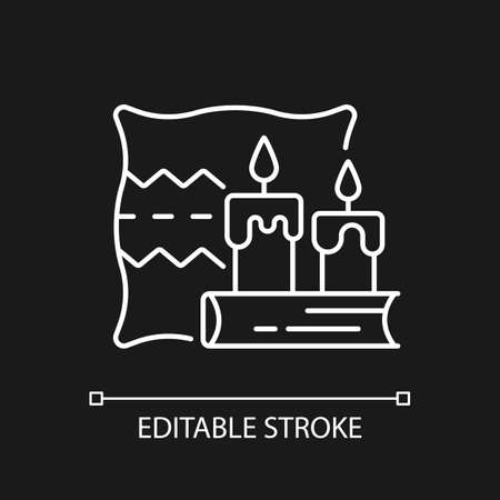 Hygge white linear icon for dark theme. Key to happiness. Nordic lifestyle. Comfortable atmosphere. Thin line customizable illustration. Isolated vector contour symbol for night mode. Editable stroke
