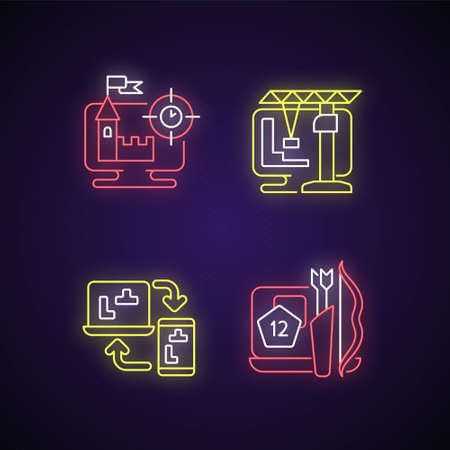Online playing neon light icons set. Users have a special role in scenario. Intelectual puzzle games. Construction simulators. Signs with outer glowing effect. Vector isolated RGB color illustrations Ilustrace
