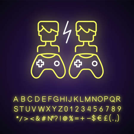 Player versus player games neon light icon. Users compete against each other. Outer glowing effect. Sign with alphabet, numbers and symbols. Vector isolated RGB color illustration