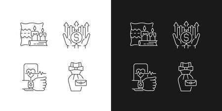 Lifestyle tendencies linear icons set for dark and light mode. Hygge life. Wealth building. Health tracking. Customizable thin line symbols. Isolated vector outline illustrations. Editable stroke