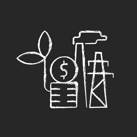 Environmental tax chalk white icon on dark background. Ecotax for industrial economy. Discount for renewable resource production. Energy purchase. Isolated vector chalkboard illustration on black Vektoros illusztráció