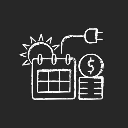 Energy pricing in summer chalk white icon on dark background. Electricity cost in seasonal period. Financial standard for utility. Energy purchase. Isolated vector chalkboard illustration on black