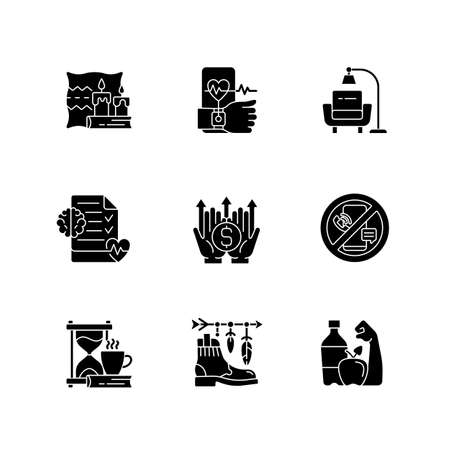 Modern lifestyle and health black glyph icons set on white space. Cozy interior. Minimalism. Mental wellbeing. Fitness tracker. Digital detox. Silhouette symbols. Vector isolated illustration Vecteurs