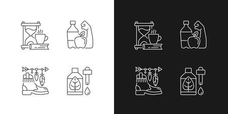 Changing habits and priorities linear icons set for dark and light mode. Slow living. Healthy lifestyle. Customizable thin line symbols. Isolated vector outline illustrations. Editable stroke