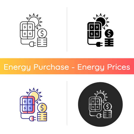 Solar energy price icon. PV panels for sun power generation. Cost for sustainable resource consumption. Energy purchase. Linear black and RGB color styles. Isolated vector illustrations