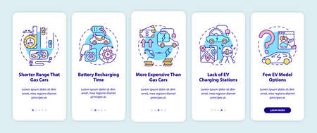 Electric vehicles disadvantages onboarding mobile app page screen. EV limitations walkthrough 5 steps graphic instructions with concepts. UI, UX, GUI vector template with linear color illustrations Ilustrace
