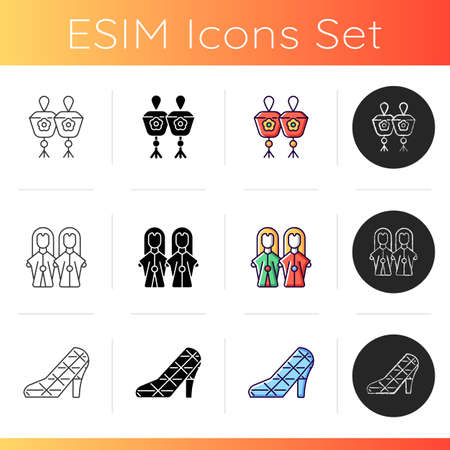 Oriental icons set. Taiwanese national recreational stuff demonstration. High heel wedding church. Budaixi puppetry. Sky lanterns. Linear, black and RGB color styles. Isolated vector illustrations Ilustración de vector
