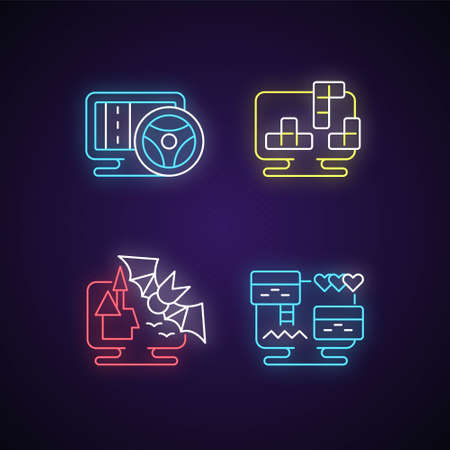 Life simulator games types neon light icons set. Vehicles controlling games. Interesting block puzzles. Scarry horror stories. Signs with outer glowing effect. Vector isolated RGB color illustrations