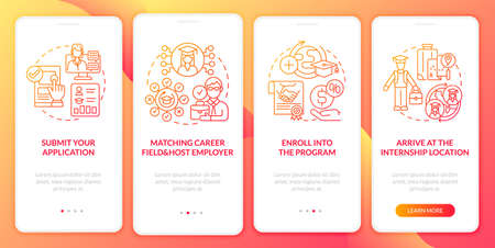 Traineeship abroad strategy onboarding mobile app page screen. Arrive at location walkthrough 4 steps graphic instructions with concepts. UI, UX, GUI vector template with linear color illustrations