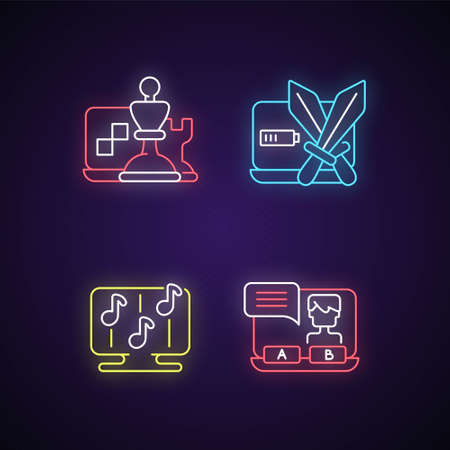 Competitive games types neon light icons set. Combat between teams. Rhythm activities. Visual novels with interesting stories. Signs with outer glowing effect. Vector isolated RGB color illustrations