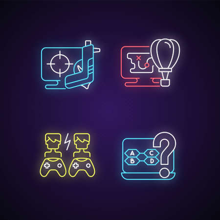 Cooperative games neon light icons set. Playing against other players. Intelectual trivia questions. Fun stories with npc. Signs with outer glowing effect. Vector isolated RGB color illustrations Ilustrace