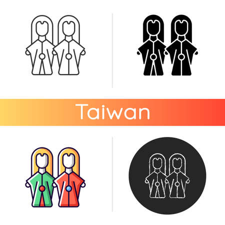 Glove puppets icon. Budaix national entertainment. Finger dancing artisan. Facial expression traditional stories retelling. Linear black and RGB color styles. Isolated vector illustrations