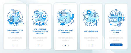 Driverless cons onboarding mobile app page screen. Self-driving negatives walkthrough 5 steps graphic instructions with concepts. UI, UX, GUI vector template with linear color illustrations