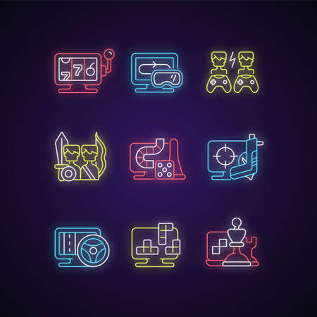 Online gameplay neon light icons set. Exciting time spending with friends. Big team combat on battlefield. Fighting simulator. Signs with outer glowing effect. Vector isolated RGB color illustrations