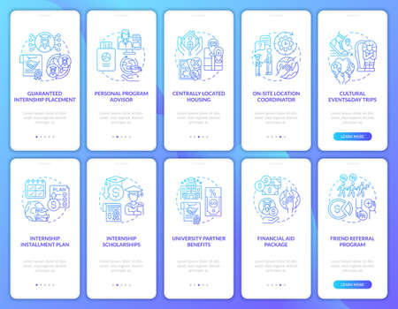 Traineeship programs onboarding mobile app page screens set. Personal coordinator walkthrough 5 steps graphic instructions with concepts. UI, UX, GUI vector template with linear color illustrations