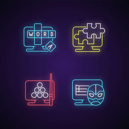 Intellectual game types neon light icons set. Online word guessing game. Jigsaw puzzles solving. Wrestling matches simulators. Signs with outer glowing effect. Vector isolated RGB color illustrations