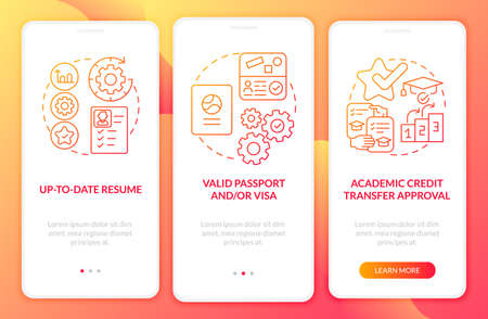 Traineeship abroad must-haves onboarding mobile app page screen. Academic credit walkthrough 3 steps graphic instructions with concepts. UI, UX, GUI vector template with linear color illustrations Ilustrace