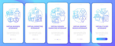 Top distant internship areas onboarding mobile app page screen. Business, SEO walkthrough 5 steps graphic instructions with concepts. UI, UX, GUI vector template with linear color illustrations