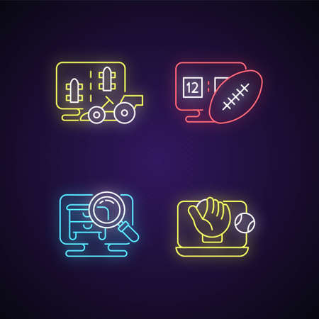 Sport simulators types neon light icons set. Virtual car controlling racing. Playing football games with friends and family. Signs with outer glowing effect. Vector isolated RGB color illustrations