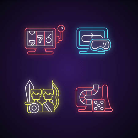 Assertive games neon light icons set. Online casino with gambling and money spending. Virtual reality technology equipment. Signs with outer glowing effect. Vector isolated RGB color illustrations