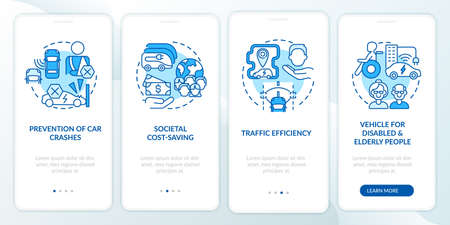 Hybrid car pros onboarding mobile app page screen. Driverless vehicle positives walkthrough 4 steps graphic instructions with concepts. UI, UX, GUI vector template with linear color illustrations