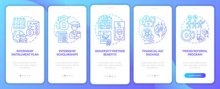 Traineeship program financing onboarding mobile app page screen. University partner walkthrough 5 steps graphic instructions with concepts. UI, UX, GUI vector template with linear color illustrations Ilustrace