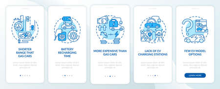 EV disadvantages onboarding mobile app page screen. Future transport lacks walkthrough 5 steps graphic instructions with concepts. UI, UX, GUI vector template with linear color illustrations