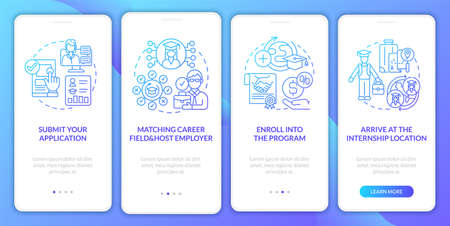 Internship overseas procedure onboarding mobile app page screen. Select career field walkthrough 4 steps graphic instructions with concepts. UI, UX, GUI vector template with linear color illustrations