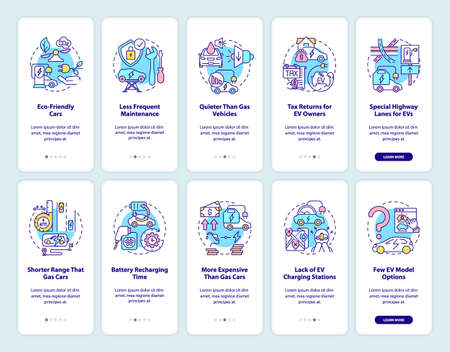 Electric car onboarding mobile app page screen. EV pros and cons walkthrough 5 steps graphic instructions with concepts. UI, UX, GUI vector template with linear color illustrations