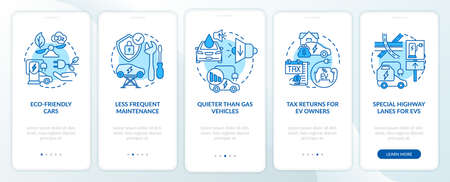 Eco-friendly advantages onboarding mobile app page screen. Electric vehicle service walkthrough 5 steps graphic instructions with concepts. UI, UX, GUI vector template with linear color illustrations