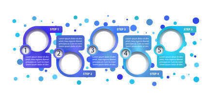 Blue corporate vector infographic template. Roadmap presentation design elements with text space. Data visualization with 5 steps. Process timeline chart. Workflow layout with copyspace