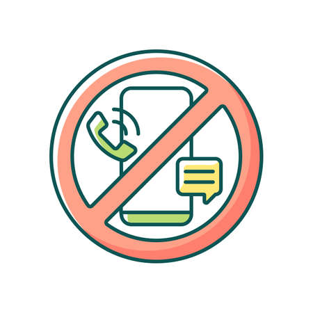Digital detox RGB color icon. Refraining from using tech devices. Fully disconnection from smartphones. Break from social media apps. Isolated vector illustration. Simple filled line drawing Vecteurs