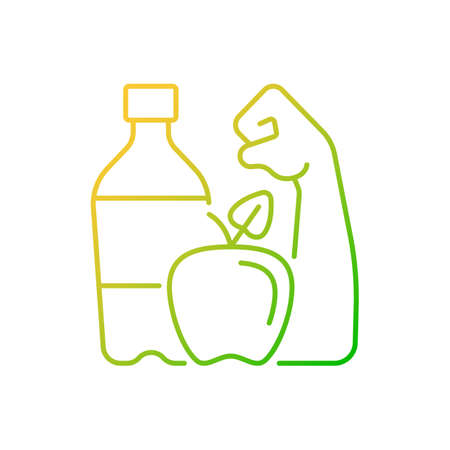 Healthy living gradient linear vector icon. Staying hydrated. Well-balanced diet. Getting regular exercise. Thin line color symbols. Modern style pictogram. Vector isolated outline drawing