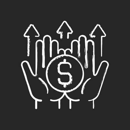 Wealth building chalk white icon on dark background. Making financial decisions. Generating long-term income. Forward-thinking retirement strategy. Isolated vector chalkboard illustration on black Vecteurs