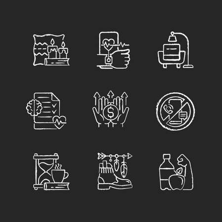 Modern lifestyle and health chalk white icons set on dark background. Cozy interior. Minimalism. Mental wellbeing. Fitness tracker. Digital detox. Isolated vector chalkboard illustrations on black