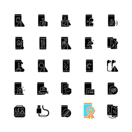 Smartphone repair black glyph icons set on white space. Mobile phone renovate. Different type device problems. Technical malfunction. Silhouette symbols. Vector isolated illustration