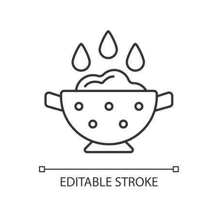 Rinse cooking ingredient linear icon. Wash rice on bowl with holes. Soaking product. Thin line customizable illustration. Contour symbol. Vector isolated outline drawing. Editable stroke