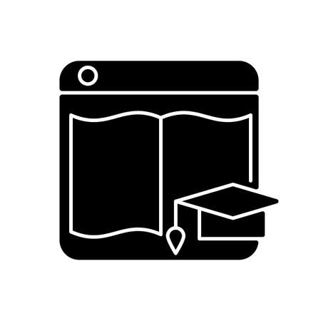 Learning platforms black glyph icon. Website for students and teachers. Online courses. E-learning site. Enhance educational management. Silhouette symbol on white space. Vector isolated illustration