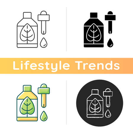Natural skincare icon. Non-toxic, green cosmetic products. Skin soothing and nourishing. Organic ingredients. Medicinal benefits. Linear black and RGB color styles. Isolated vector illustrations