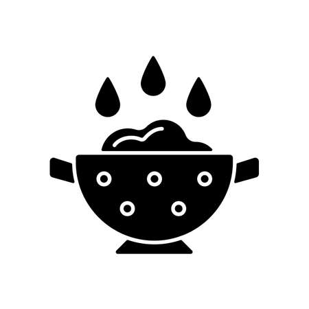 Rinse cooking ingredient black glyph icon. Wash rice on bowl with holes. Soaking product as cooking instruction step. Food preparation. Silhouette symbol on white space. Vector isolated illustration Vector Illustratie