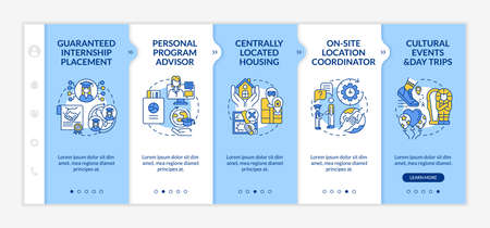 Internship program benefits onboarding vector template. Responsive mobile website with icons. Web page walkthrough 5 step screens. Guaranteed placement, advisor color concept with linear illustrations