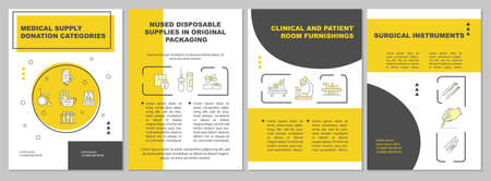 Clinical and patient room furnishings brochure template. Flyer, booklet, leaflet print, cover design with linear icons. Vector layouts for presentation, annual reports, advertisement pages