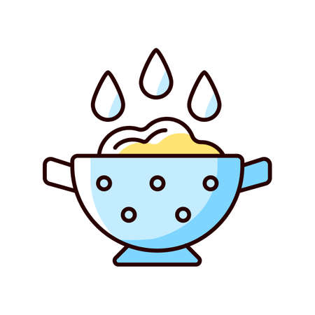 Rinse cooking ingredient RGB color icon. Wash rice on bowl with holes. Soaking product as cooking instruction step. Food preparation process. Isolated vector illustration. Simple filled line drawing
