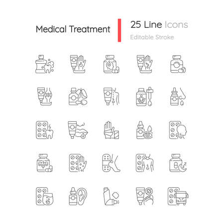 Medical treatment linear icons set. Oral hygiene. Antibacterial ointments. Pain reliever. Fast healing. Customizable thin line contour symbols. Isolated vector outline illustrations. Editable stroke Vektoros illusztráció